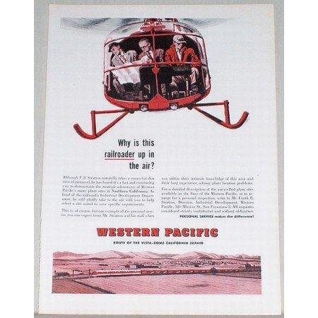 1955 Western Pacific Railroad Train Helicopter Art Color Print Ad