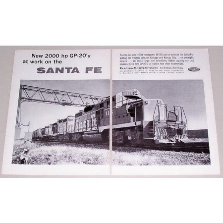 1961 GM Locomotives Santa Fe GP-20's 2 Page Vintage Print Ad