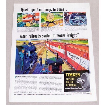 1949 Timken Bearings Roller Freight Train Cars Color Print Art Ad