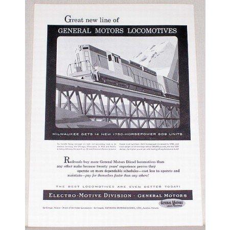 1954 General Motors Locomotives Vintage Print Ad - Milwaukee