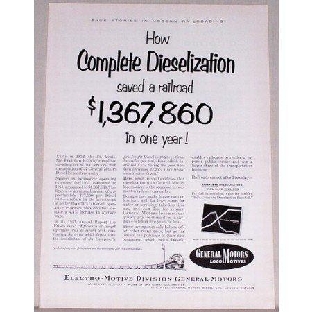 1953 General Motors Locomotives Vintage Print Ad - Dieselization