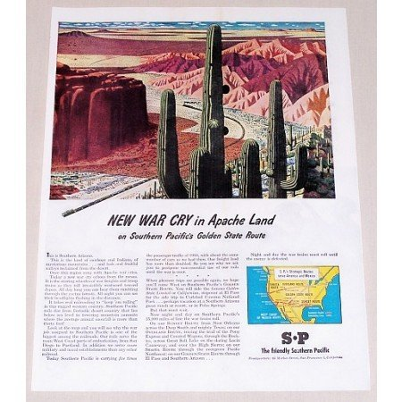 1945 Southern Pacific Railway Desert Cactus Art Color Print Ad - Apache Land