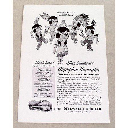 1947 Milwaukee Road Olympian Hiawatha Fleet Train Indian Art Vintage Print Ad
