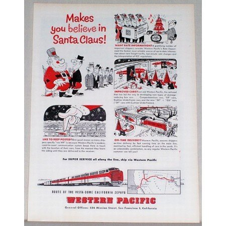 1954 Western Pacific Vista Dome Zephyr Train Color Print Ad