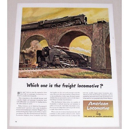 1945 American Locomotive Color Print Art Ad