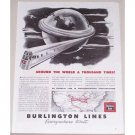 1945 Burlington Lines Railroad Vintage Print Ad - Around The World