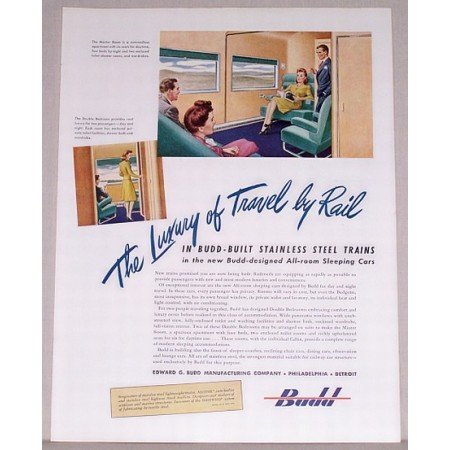 1946 Budd Built Steel Trains Color Print Ad - Travel By Rail