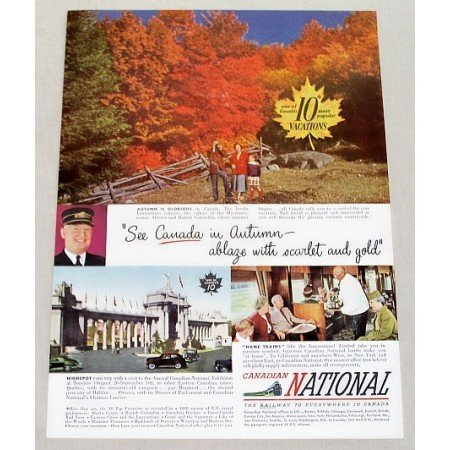 1949 Canadian national Railway Color Print Scenic Fall Ad - Canada In Autumn
