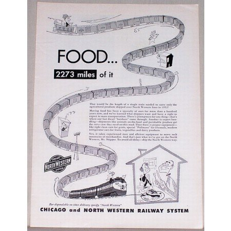 1953 Chicago and North Western Railway System Train Vintage Print Ad