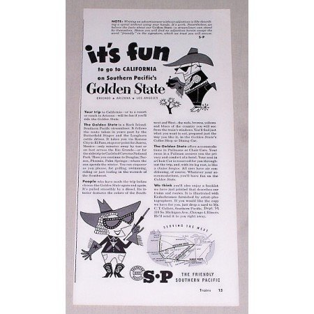 1954 Southern Pacific Lines Railroad Vintage Print Ad - It's Fun