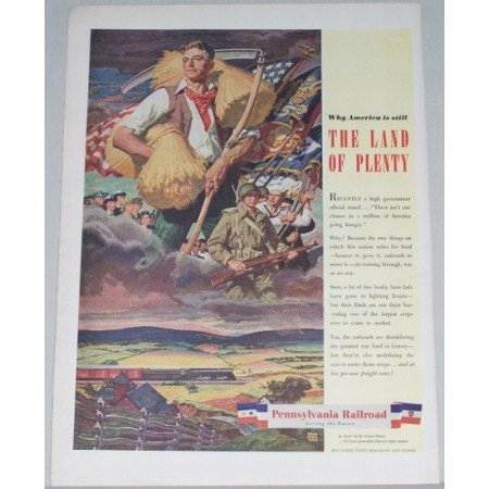 1944 Pennsylvania Railroad Color Print Art Ad - Land Of Plenty