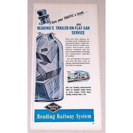 1957 Reading Lines Railway System Vintage Print Ad