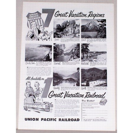 1954 Union Pacific Railroad Vintage Print Ad - Great Vacation Railroad