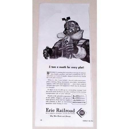 1944 Erie Railroad Wartime Vintage Print Ad - 5 Tons A Month