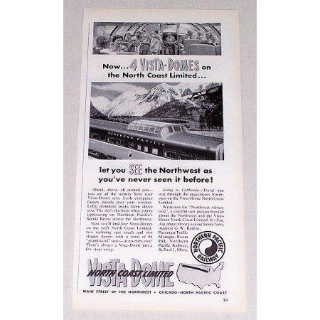 1954 Northern Pacific Railway Vintage Print Ad - 4 Vista Domes