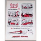 1953 Western Pacific Railroad Train Color Print Art Ad
