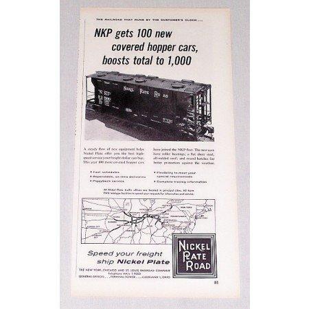 1957 Nickel Plate Road Railroad Vintage Print Ad - Hopper Cars