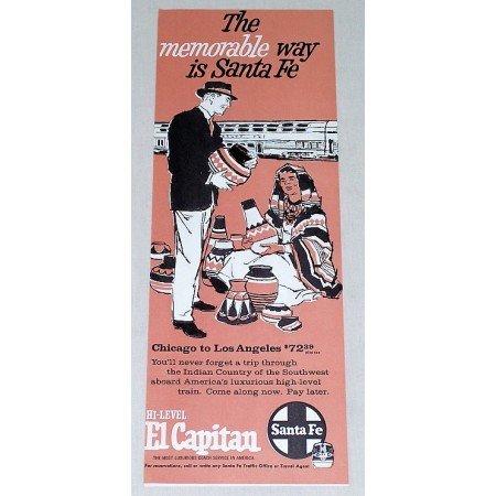 1961 Santa Fe High Level El Capitan Railroad Vintage Print Ad