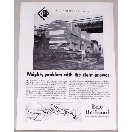 1953 Erie Railroad Vintage Print Ad - Weighty Problem