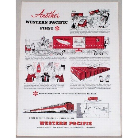 1953 Western Pacific Vista Dome Zephyr Train Color Print Ad