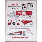 1953 Western Pacific Vista Dome Zephyr Train Color Print Ad