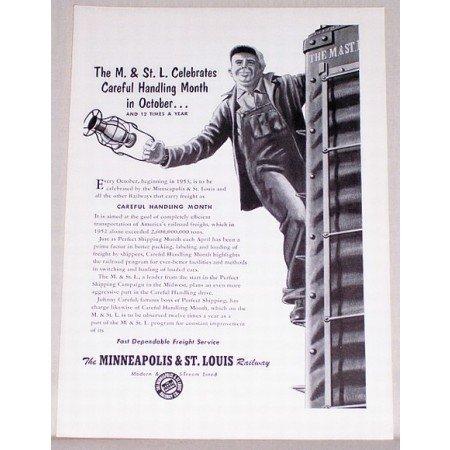 1953 Minneapolis St Louis Railway Vintage Print Ad - Handling Month