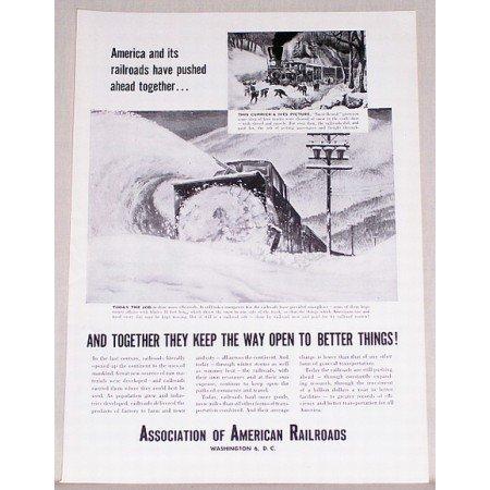 1954 Association of American Railroads Vintage Print Ad - Pushed Ahead
