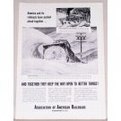 1954 Association of American Railroads Vintage Print Ad - Pushed Ahead