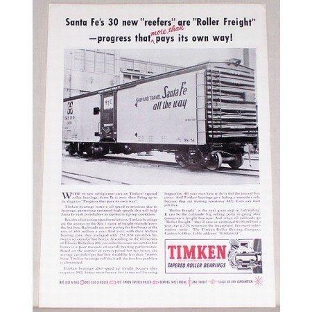 1954 Timken Roller Bearings Santa Fe Train Car Vintage Print Ad