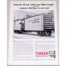 1954 Timken Roller Bearings Santa Fe Train Car Vintage Print Ad