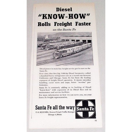 1954 Santa Fe Railroad Vintage Print Ad - Diesel Know How