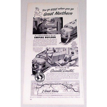 1954 Great Northern Railway Railroad Vintage Print Ad - You Go Great