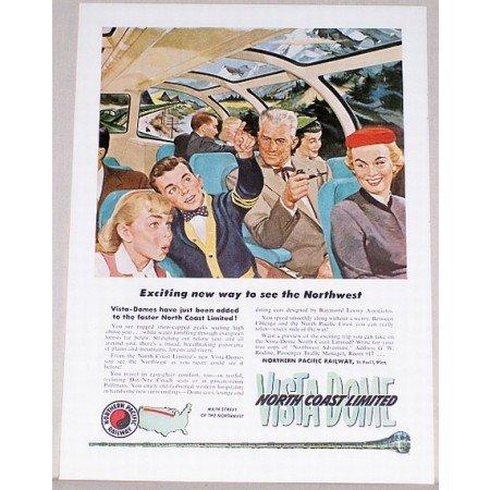 1954 Northern Pacific Railway North Coast Ltd Color Print Ad