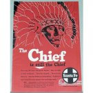1954 Santa Fe Railroad Color Print Ad - The Chief