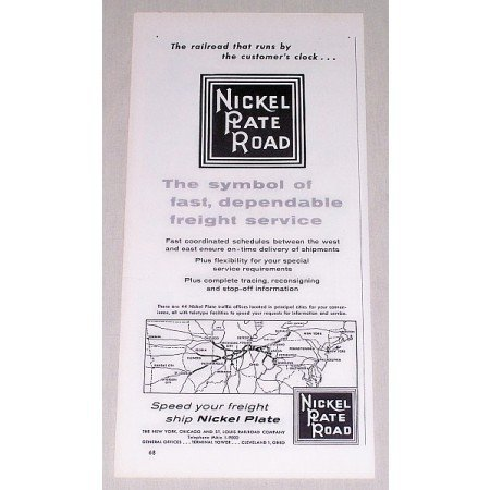1954 Nickel Plate Road Railroad Vintage Print Ad - The Symbol Of Fast