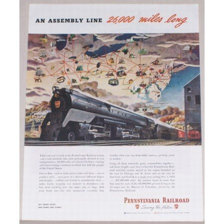 1945 Pennsylvania Railroad 6131 Engine Color Print Art Ad