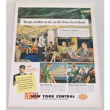 1947 New York Central System Railroad Color Print Ad