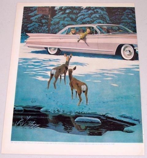 1961 Cadillac Sedan De Ville Automobile Winter Scene Deer Art 2 Page Color Print Car Ad
