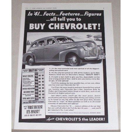 1941 Chevrolet Sedan Automobile Vintage Print Car Ad - Facts..Features..Figures