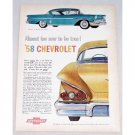 1958 Chevrolet Bel Air Impala Sport Coupe Automobile Color Print Car Ad