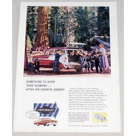 1956 Chevrolet 9 Passenger Station Wagon Automobile Color Print Car Ad