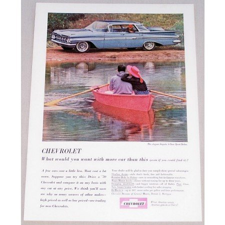 1959 Chevrolet Impala Sport Sedan Automobile Color Print Car Ad