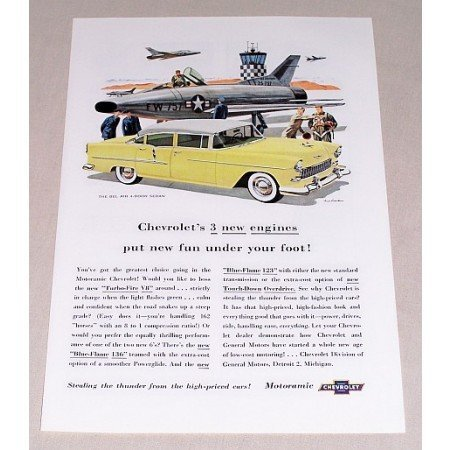 1955 Chevrolet Bel Air 4 Door Sedan Automobile Color Print Car Ad