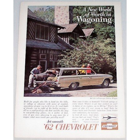 1962 Chevrolet Bel Air Station Wagon Automobile Color Print Car Ad