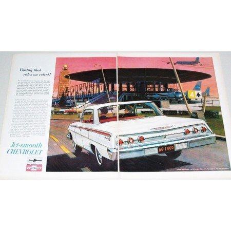 1962 Chevy Impala Sport Sedan 2 Page Automobile Color Print Car Ad