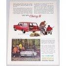 1962 Chevy II Nova Monza Station Wagons Automobile Hunting Art Color Print Car Ad
