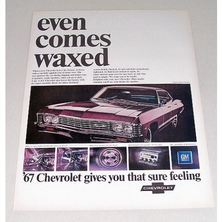 1967 Chevrolet Impala Sport Sedan Automobile Color Print Car Ad
