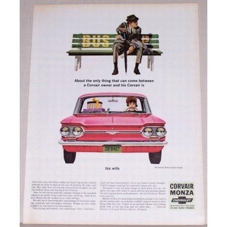 1964 Chevrolet Corvair Monza Club Coupe Automobile Color Print Car Ad