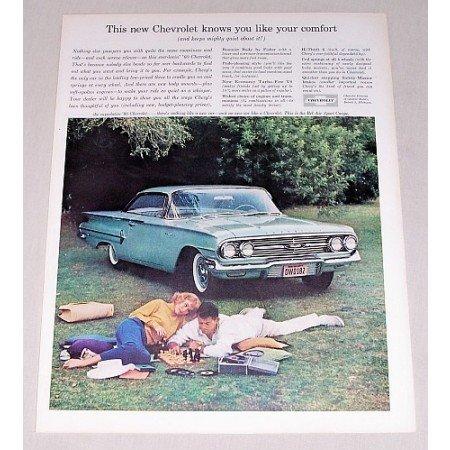 1960 Chevrolet Bel Air Sport Coupe Automobile Color Print Car Ad
