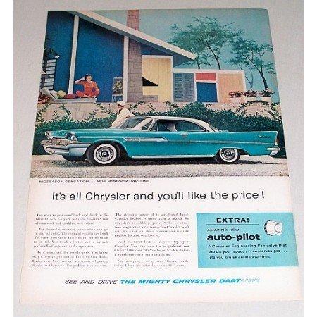 1958 Chrysler Windsor Dartline Automobile Color Print Car Ad